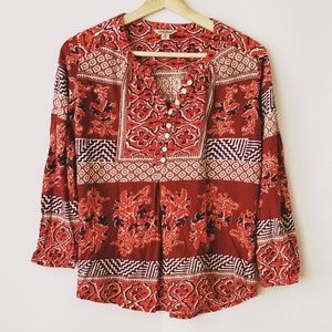 Lucky Brand top red multi color button front M